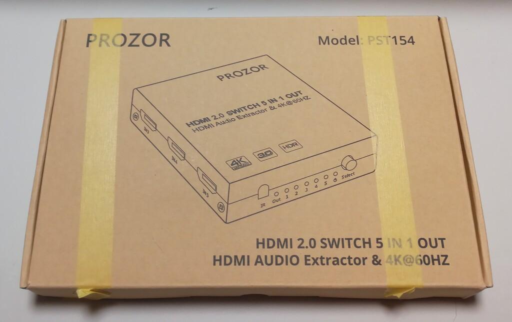買った PROZOR HDMIセレクター 音声分離機能 5入力1出力 4K HDMI2.0 2160p@60Hz HDMIケープル usbケーブル付き リモコン付き